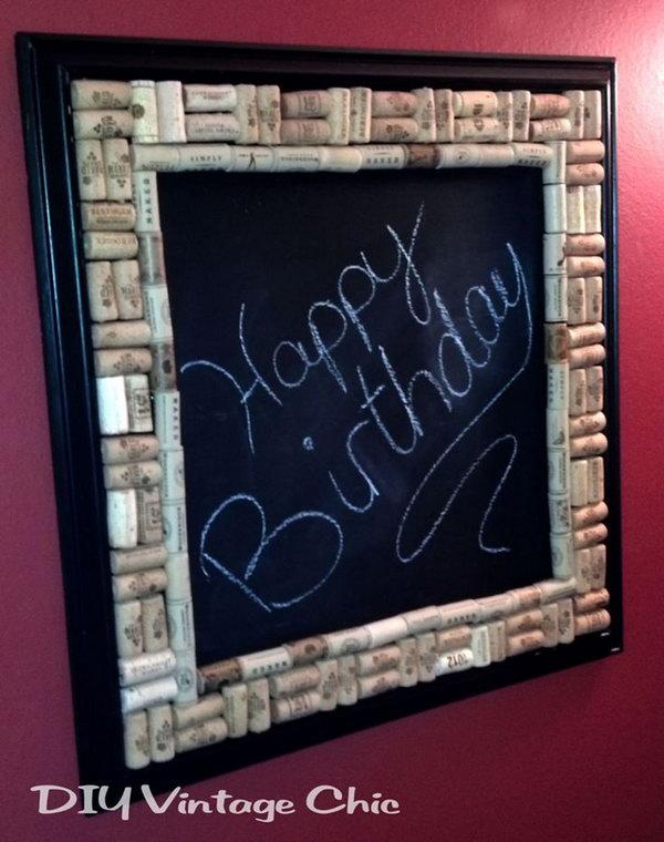 DIY Chalkboard with Wine Cork Border