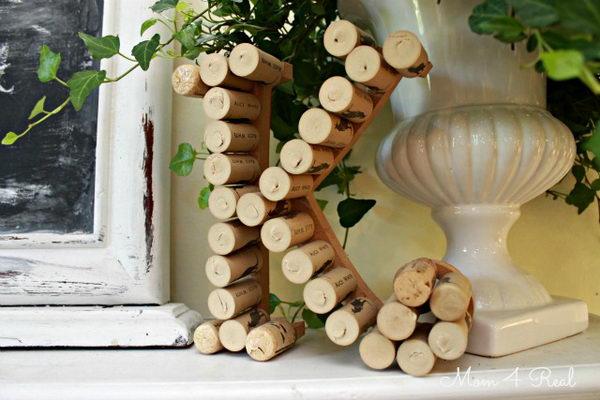 Homemade Wine Cork Letter