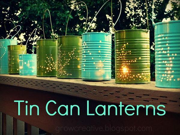 DIY Tin Can Lanterns. See the tutorial