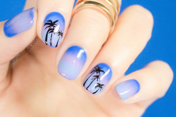 Dusk Beach with Palm Trees Nail Art. If you'd like to learn how to do this look, check out the tutorial