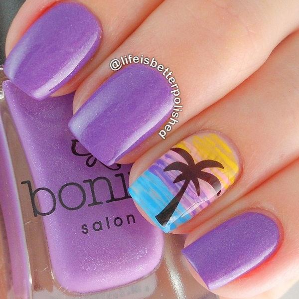 Purple Beach Nail Art Design.