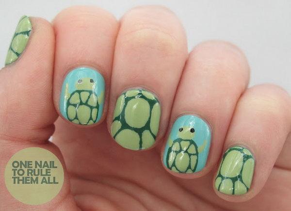 Cute Turtle Nail Art.