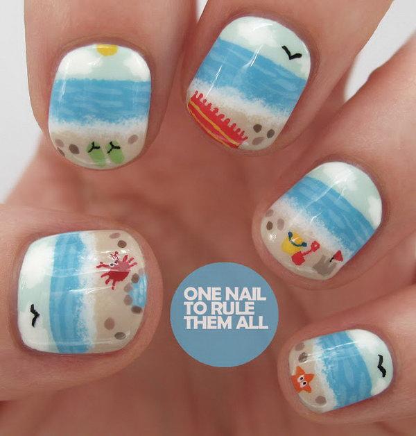 Sea Side Nail Art Idea.