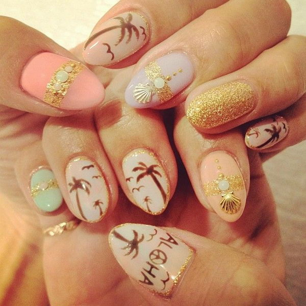 Beach Nails Blent with White, Gold and Burnt Sienna.