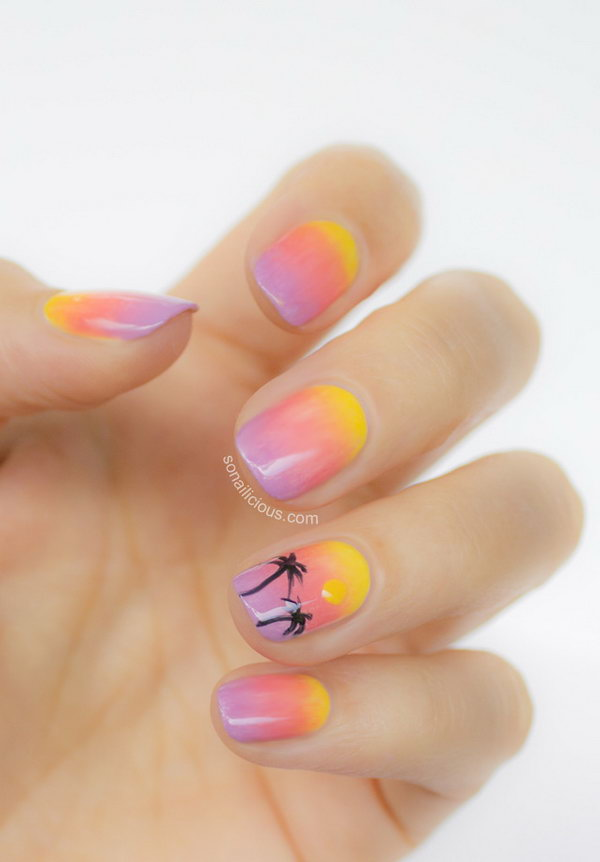 Summer Sunset Beach Ombre Nails. Ombre nails are so uniquely beautiful and the colour palette is enormous! Love this nail design so much.