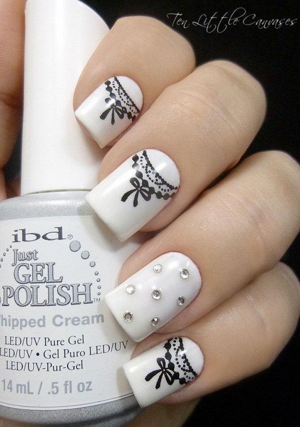 Pretty Black and White Ribbon Nail Art.
