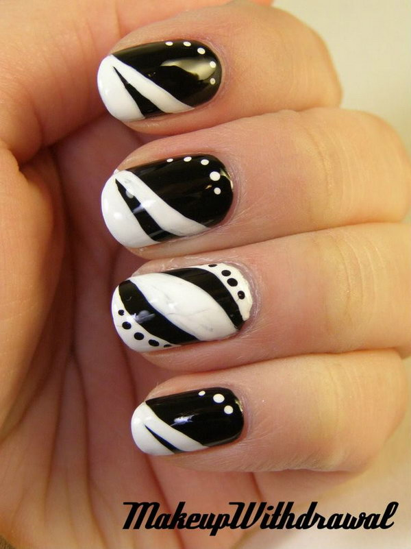 Black and White Space Nail Design.