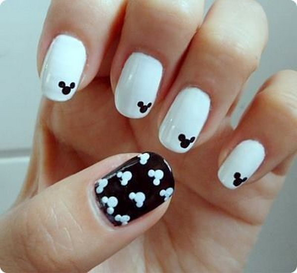 Black and White Mickey Mouse Nails.