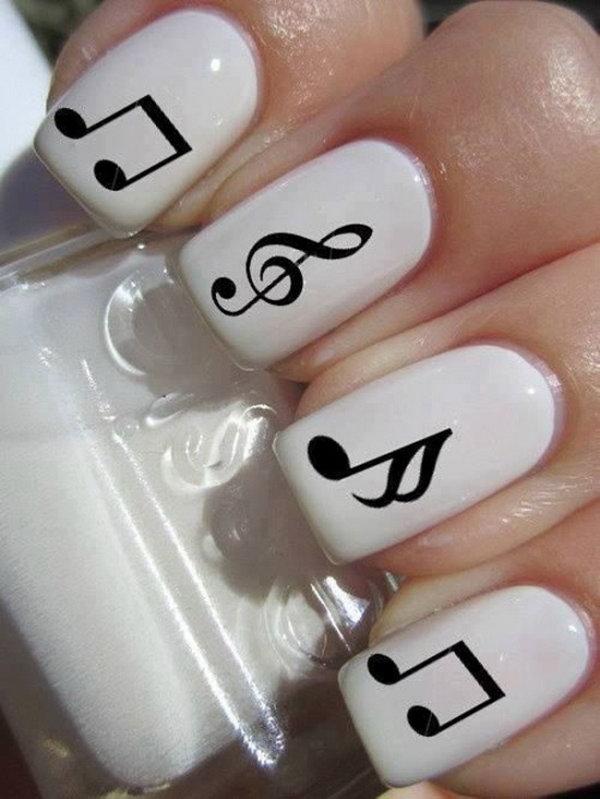 Music Black White Nails.