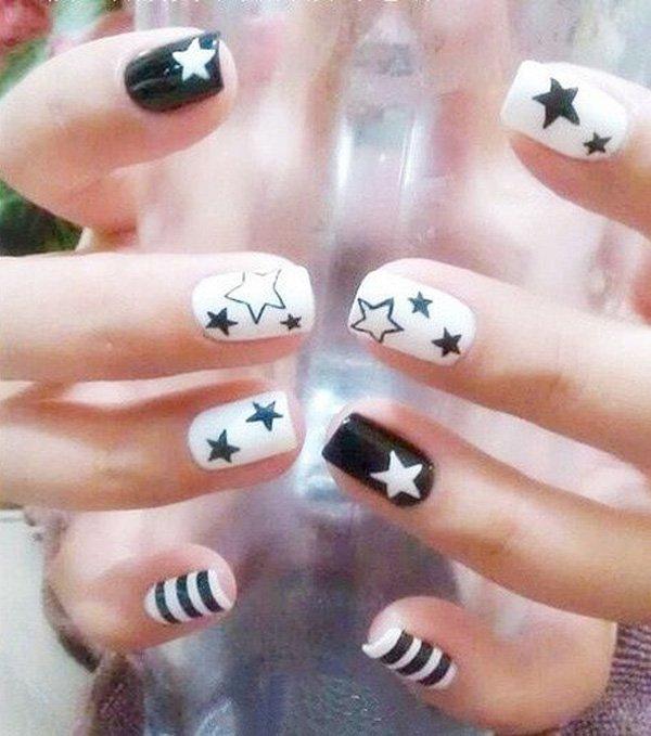 Black & White Nail with Stars.