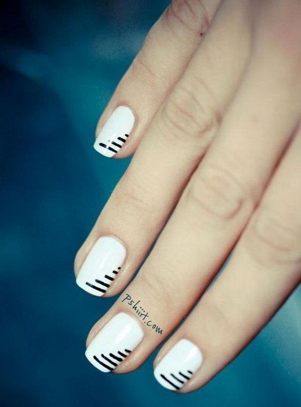 Minimalist Black & White Striped Nails.