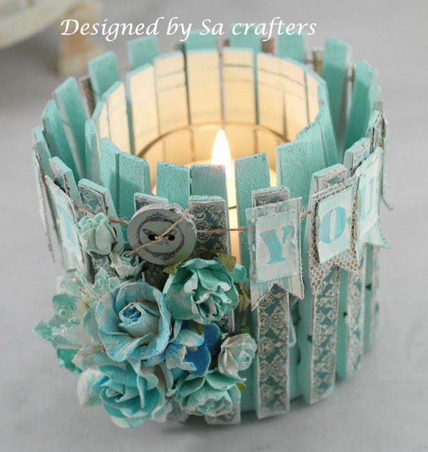 Tin Can and Clothpins Candle Holder. Check out the directions