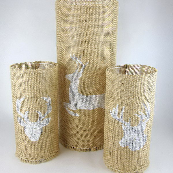 Stenciled Burlap Candle Holders. Get the instructions