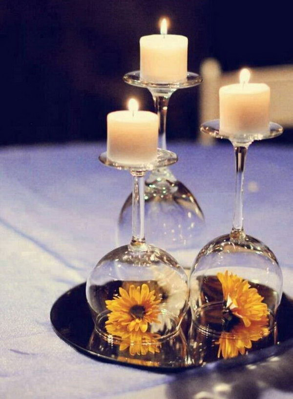 Wine Glasses Used as Candle Holders.