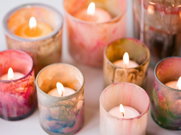 Marble Painted Votives. See the details