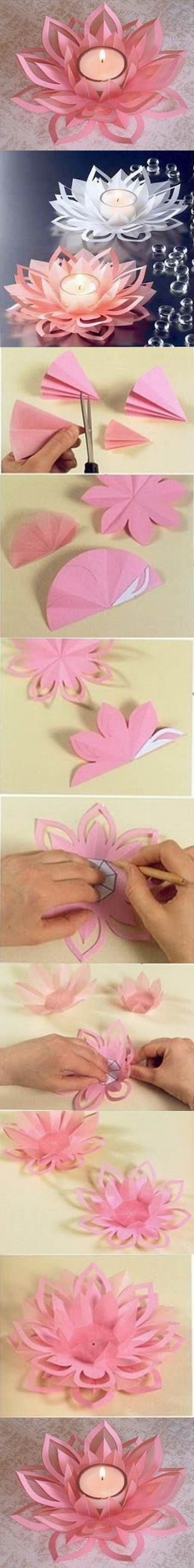 DIY Paper Lotus Candle Holders.