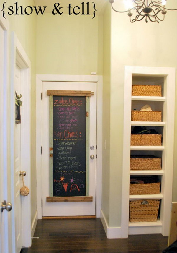 Reclaimed Lumber Turned Chalkboard For Kids' Room