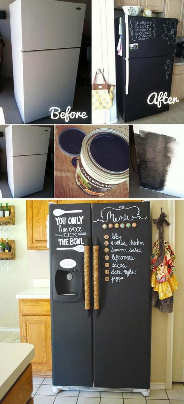 DIY Chalkboard Refrigerator.