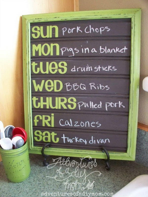 DIY Menu Board Made From Bead Board And Painted With Chalkboard Paint