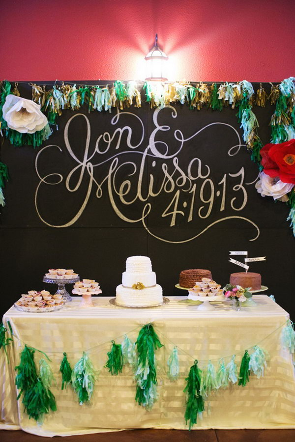Dessert Table Backdrop with Dramatic Chalkboard Lettering.