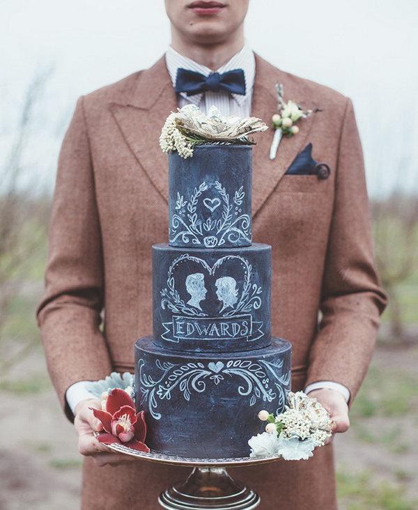 Decorative Chalkboard Inspired Cake.