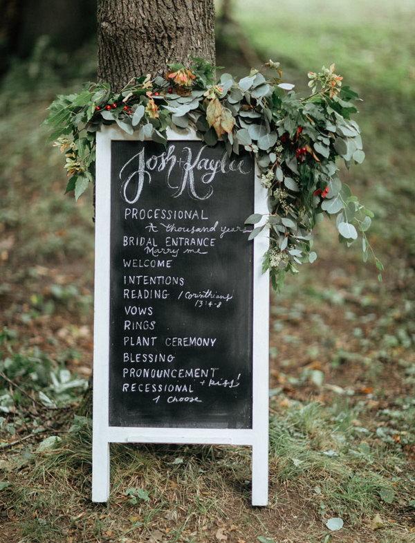 Chalkboard Program with Florals.