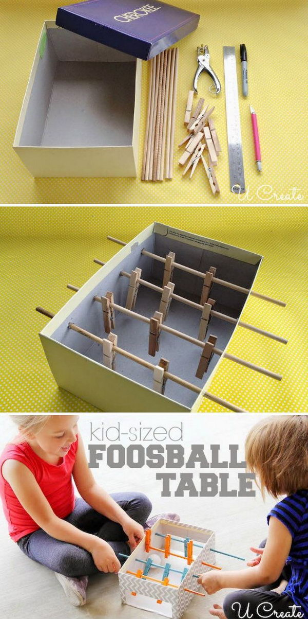 DIY Mini Foosball Table with Pin It Button For Kids.