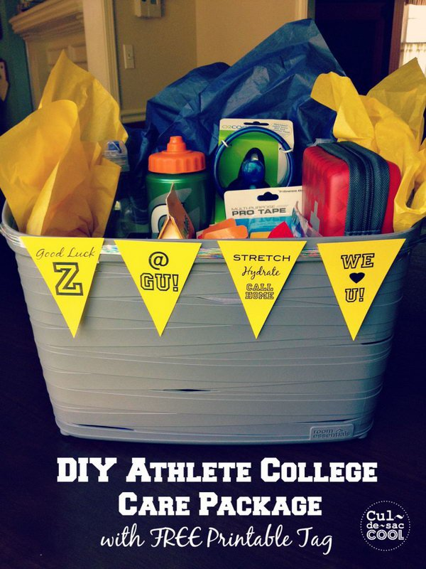 DIY Athlete College Care Package With Free Printable Tag