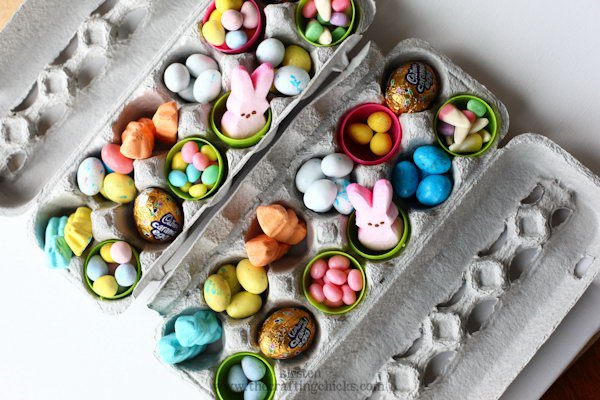 Use an empty egg carton as a container for treats