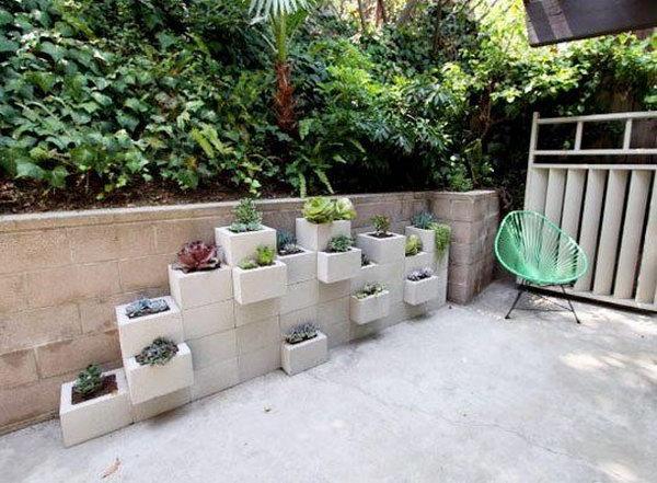 Concrete Block Vertical Planters.