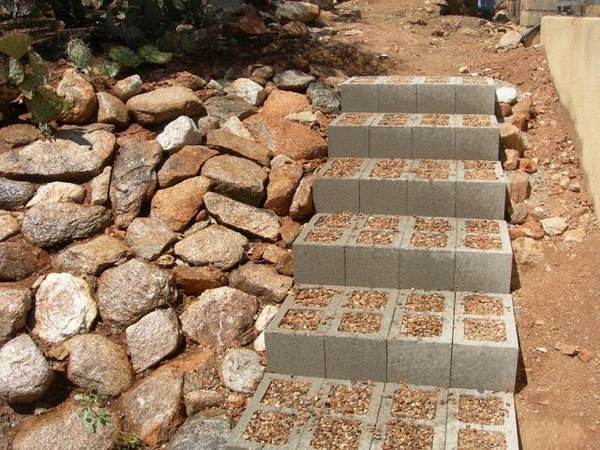Concrete Block Outdoor Stairs.