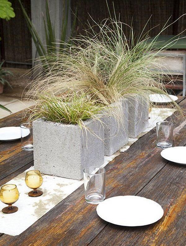 Modern Grassy Centerpieces in Cinder Blocks.