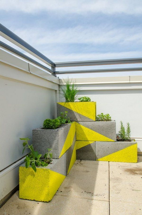 DIY Neon Concrete Block Planter.