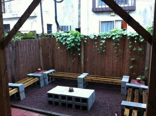 Cinder Block Garden Furniture Set.