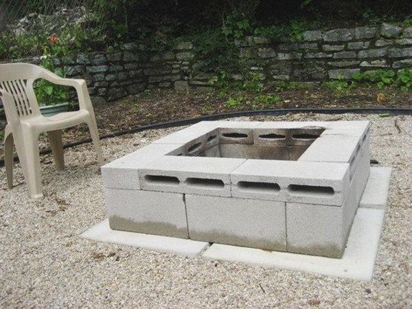 Concrete Block Fire Pit.