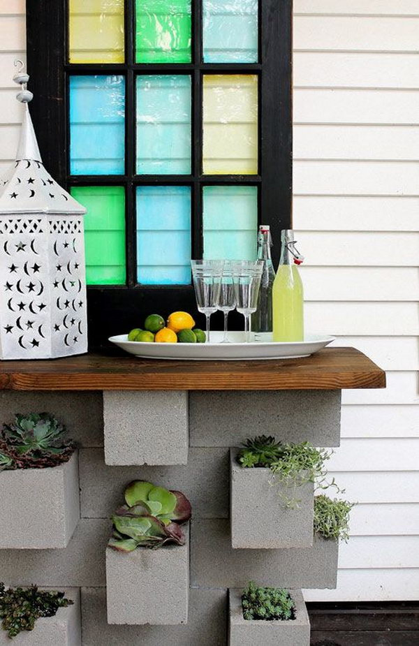 Cinder Block Planters and Outdoor Bar.