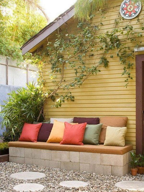 Concrete Block Garden Bench.