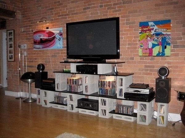 Concrete Block TV Unit and Storage.