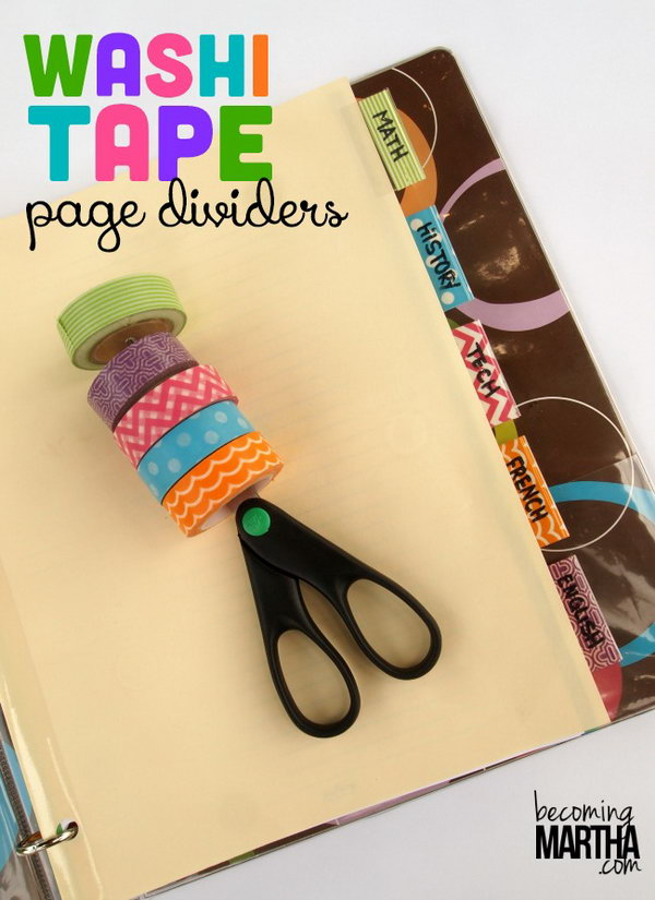 Washi Tape DIY Page Dividers