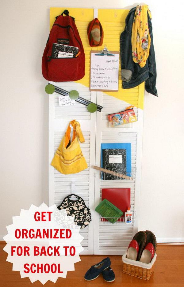 DIY Back to School Shutter Door Organizer