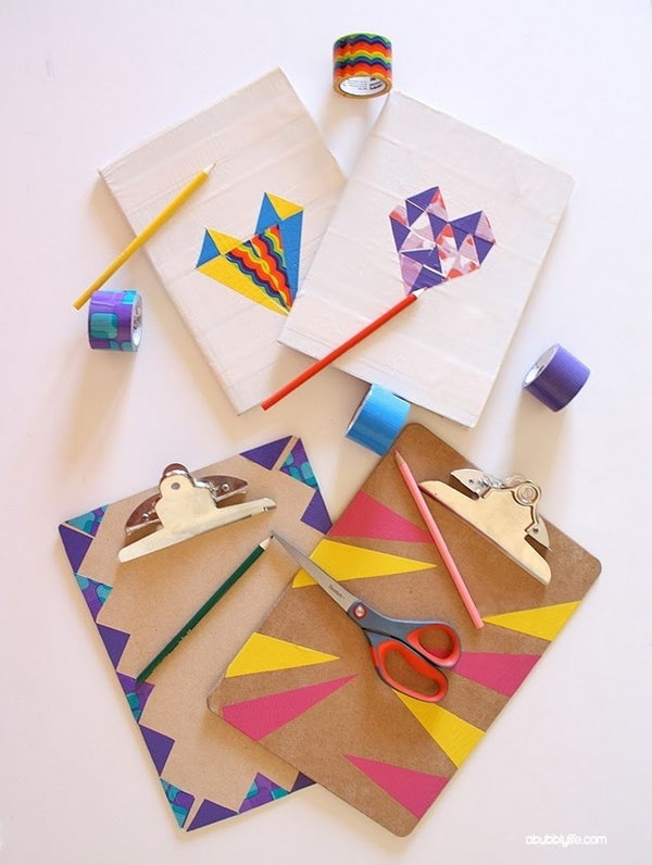 Notebook and Clipboard Makeovers with Washi and Duct Tape