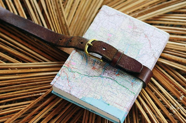 Belted Map Covered Notebook