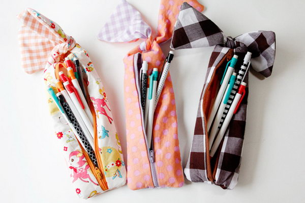 Zipper Pencil Pouch With Cute Bow Knot