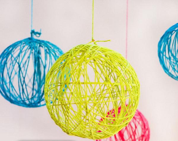 Neon Yarn Chandelier.