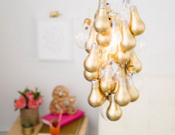 Gold Dipped Light Bulb Chandelier.