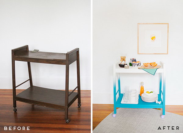 Transform an Old TV Stand into a Colorful Modern Bar Cart