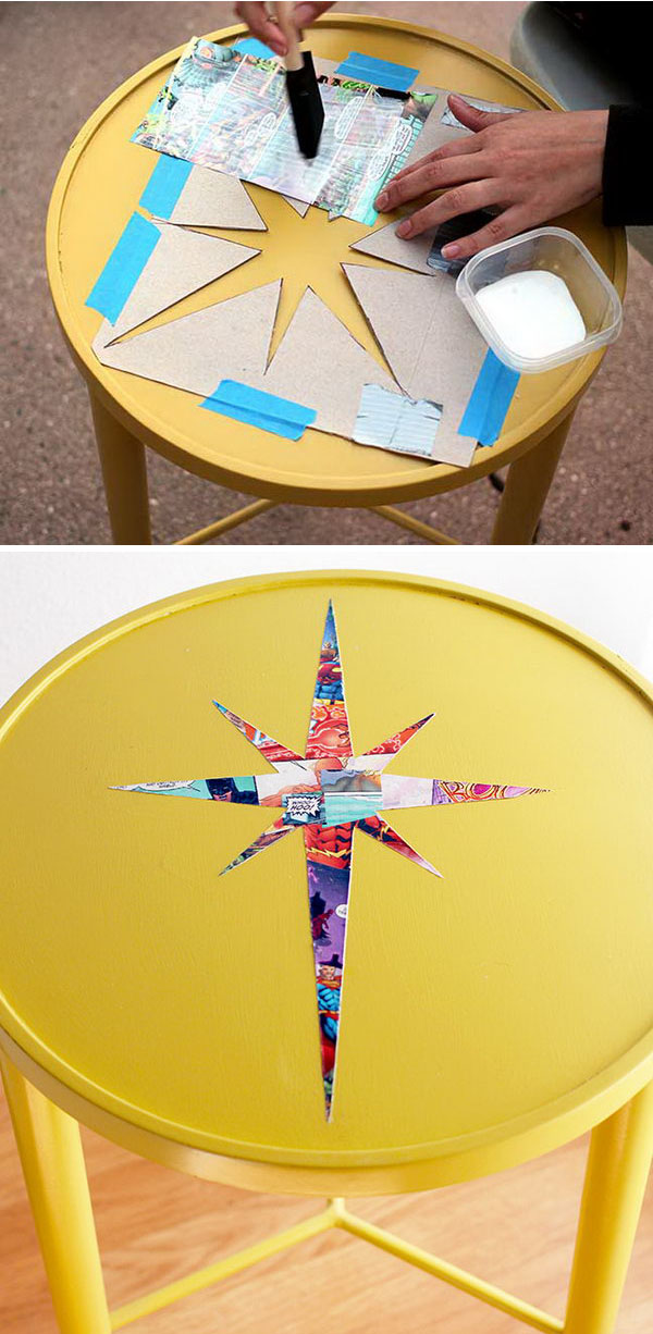 Side Table Comic Book Decoupage Makeover