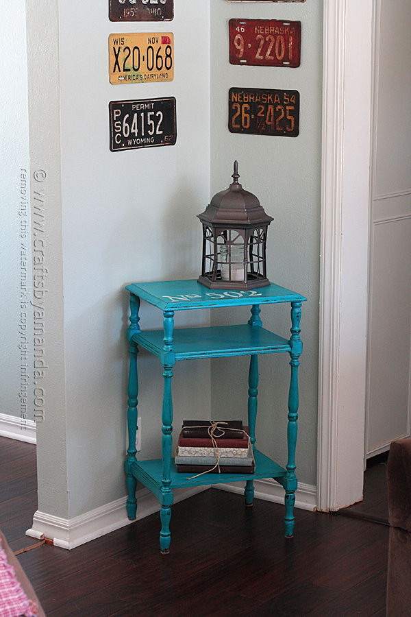 Stenciled Chalky Finish Paint Table Makeover