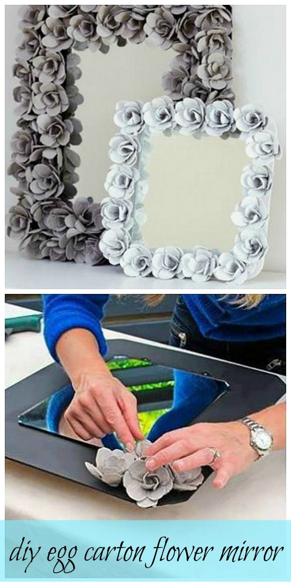 Make a Beautiful Flower Mirror Using Egg Cartons.