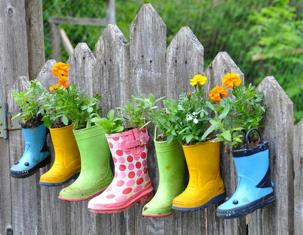 Rain Boots Flower Planters. See the directions